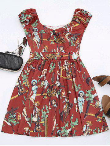 Shop Printed Mini Dress - L RED Mobile