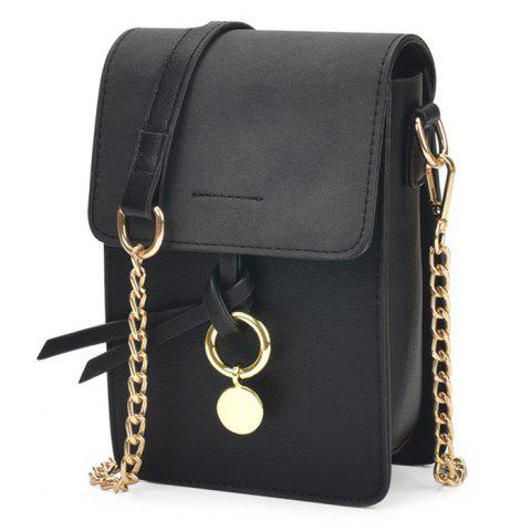 Affordable Candy Color Mini Crossbody Bag - BLACK  Mobile