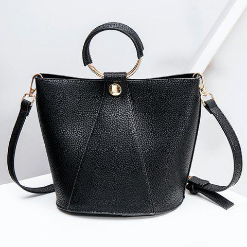 Metal Ring Faux Leather Handbag - Black - 8