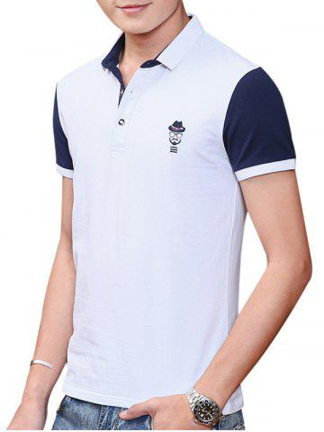 Sale Two Tone Embroidered Polo Shirt WHITE 2XL