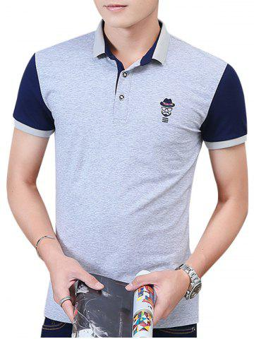 Hot Two Tone Embroidered Polo Shirt LIGHT GRAY 3XL