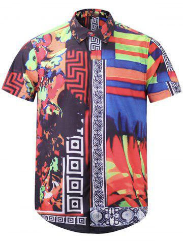 Color Block Floral Tribal Print Cover Placket Shirt - Red - 3xl