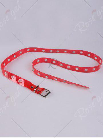 Store Pin Buckle Rivet Hole Jelly Color Belt - RED  Mobile