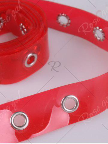 Hot Pin Buckle Rivet Hole Jelly Color Belt - RED  Mobile