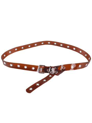 Store Pin Buckle Rivet Hole Jelly Color Belt - BROWN  Mobile