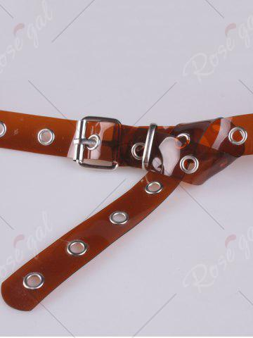 Hot Pin Buckle Rivet Hole Jelly Color Belt - BROWN  Mobile