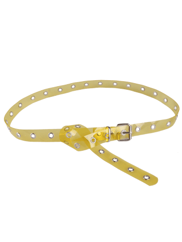 Fancy Pin Buckle Rivet Hole Jelly Color Belt - YELLOW  Mobile