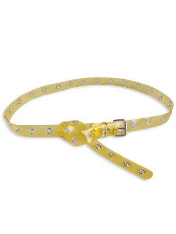 Fashion Pin Buckle Rivet Hole Jelly Color Belt - YELLOW  Mobile