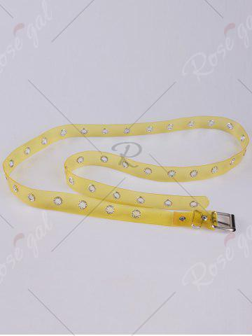 Discount Pin Buckle Rivet Hole Jelly Color Belt - YELLOW  Mobile