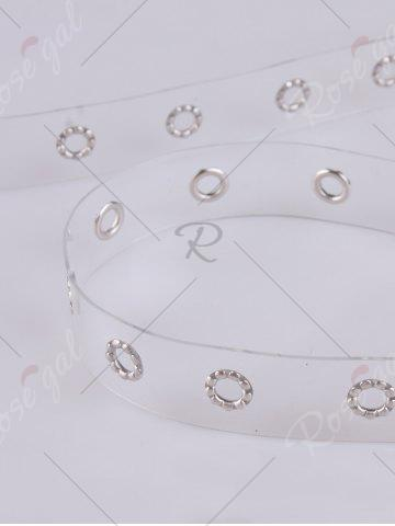 Online Pin Buckle Rivet Hole Jelly Color Belt - WHITE  Mobile