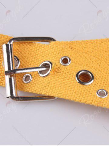 Sale Round Rivet Hole Embellished Pin Buckle Belt - YELLOW  Mobile
