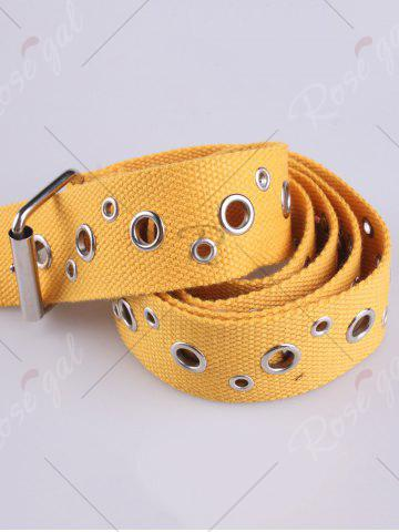 Shops Round Rivet Hole Embellished Pin Buckle Belt - YELLOW  Mobile