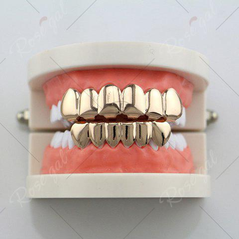 Outfit Hip Hop Smooth Top Bottom Teeth Grillz Set - ROSE GOLD  Mobile