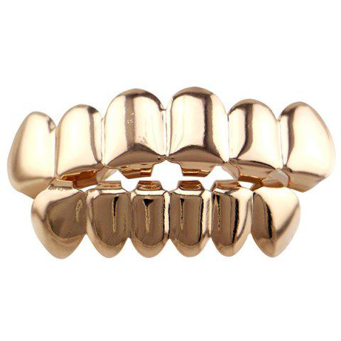 Cheap Hip Hop Smooth Top Bottom Teeth Grillz Set ROSE GOLD