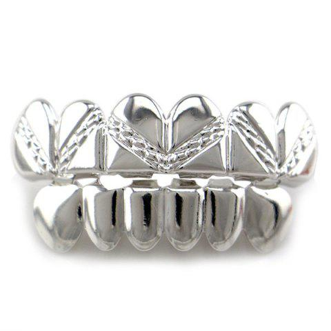 Chic Hip Hop Heart Top Bottom Teeth Grillz Set - SILVER  Mobile