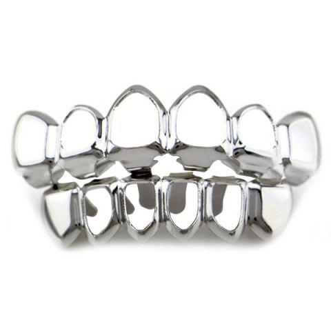 Shop Hip Hop Hollowed Top Bottom Teeth Grillz Set - SILVER  Mobile