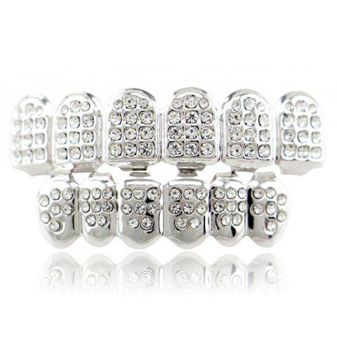 Cheap Rhinestone Hip Hop Top Bottom Teeth Grillz Set - SILVER  Mobile