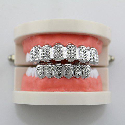 Outfit Rhinestone Hip Hop Top Bottom Teeth Grillz Set - SILVER  Mobile