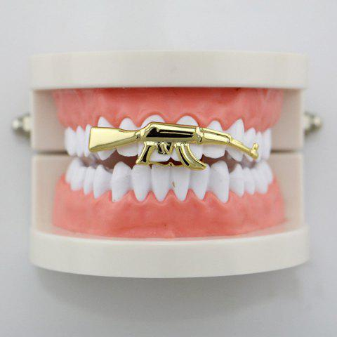 Outfit Gun AK47 Shape Hip Hop Top Teeth Grillz GOLDEN