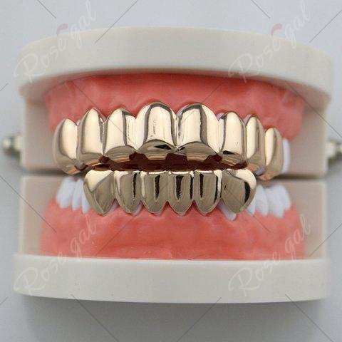 Latest Top and Bottom Hip Hop Teeth Grillz Set - ROSE GOLD  Mobile