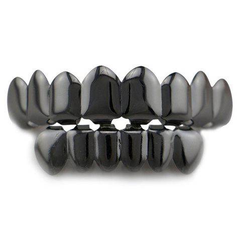 Latest Top and Bottom Hip Hop Teeth Grillz Set - GUN METAL  Mobile