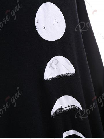 Trendy Moon Print Long Sleeve Hoodie - S BLACK Mobile