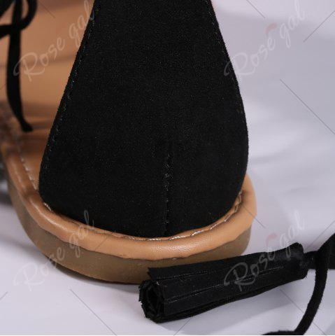 Hot Exotic Flat Strappy Sandals with Tassels Lace Up - 37 BLACK Mobile