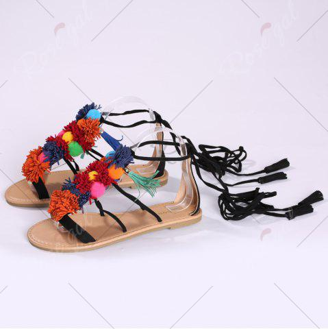 Cheap Exotic Flat Strappy Sandals with Tassels Lace Up - 37 BLACK Mobile