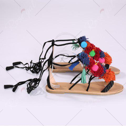 Outfits Exotic Flat Strappy Sandals with Tassels Lace Up - 37 BLACK Mobile