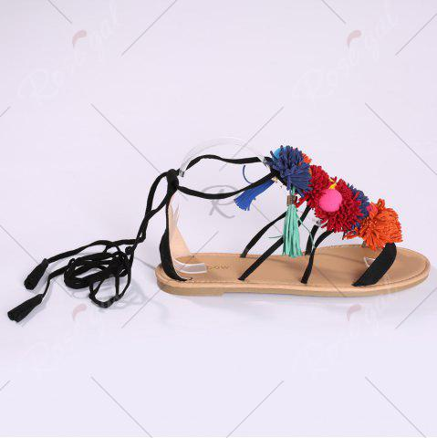 Trendy Exotic Flat Strappy Sandals with Tassels Lace Up - 37 BLACK Mobile