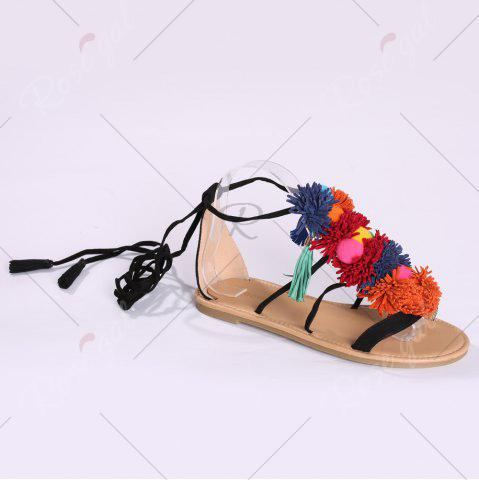 New Exotic Flat Strappy Sandals with Tassels Lace Up - 37 BLACK Mobile