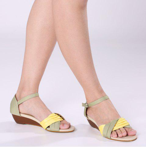Buy Color Block Low Wedge Sandals - 37 YELLOW Mobile