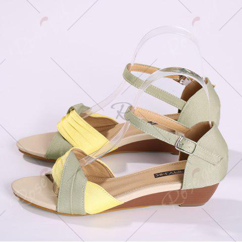 Fashion Color Block Low Wedge Sandals - 37 YELLOW Mobile