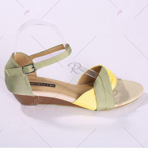 New Color Block Low Wedge Sandals - 37 YELLOW Mobile
