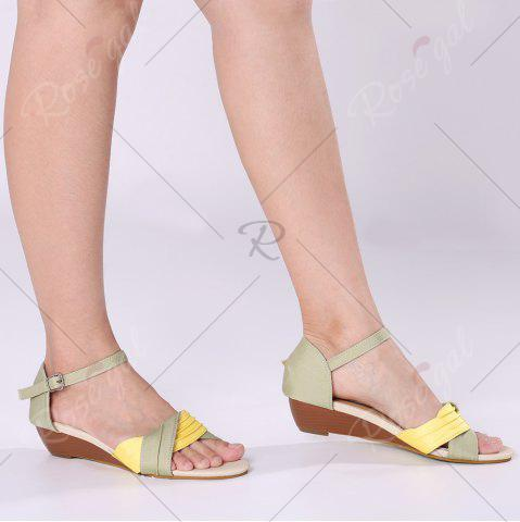 Hot Color Block Low Wedge Sandals - 37 YELLOW Mobile