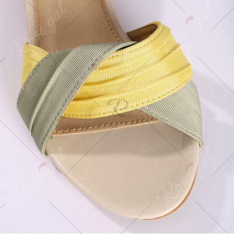 Trendy Color Block Low Wedge Sandals - 37 YELLOW Mobile
