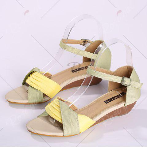 Latest Color Block Low Wedge Sandals - 37 YELLOW Mobile