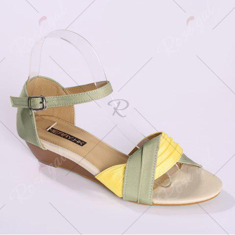 Outfits Color Block Low Wedge Sandals - 37 YELLOW Mobile