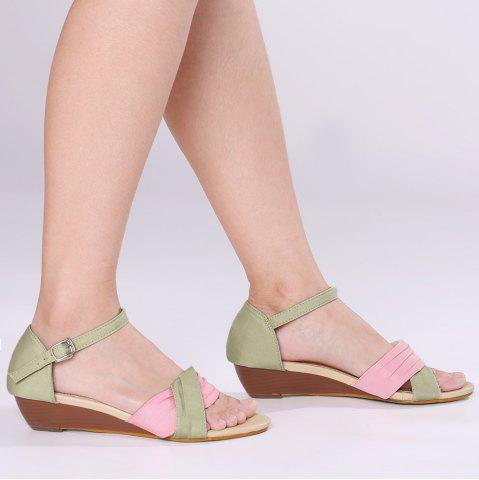 Outfits Color Block Low Wedge Sandals - 39 PAPAYA Mobile