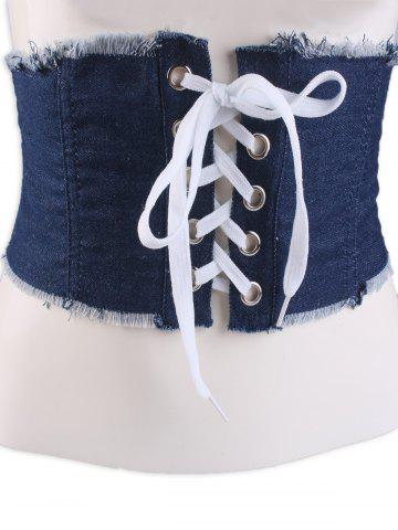 Shops Fringe Brim Lace Up Denim Corset Belt - DEEP BLUE  Mobile