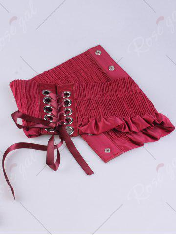 Cheap Shimmer Lace Up Circles Pleating Corset Belt - RED  Mobile
