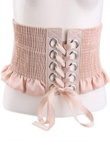 Fancy Shimmer Lace Up Circles Pleating Corset Belt - APRICOT  Mobile