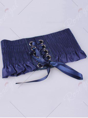 Cheap Shimmer Lace Up Circles Pleating Corset Belt - BLUE  Mobile