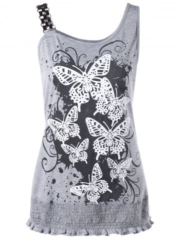 Butterfly Print Smocked Plus Size Tank Top - Gray - 5xl