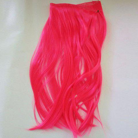 Fashion No Clips Fish Line Medium Straight Cosplay Synthetic Hair Extension RED 14INCH