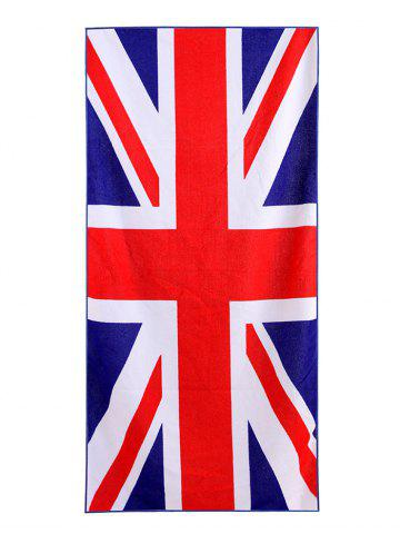 New British Flag Print Polyester Fabric Soft Bath Towel - W15.5 INCH * L67 INCH BLUE Mobile
