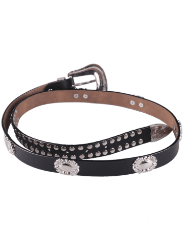 Shops Metal Engraved Pin Buckle Rivet Waist Belt - BLACK  Mobile