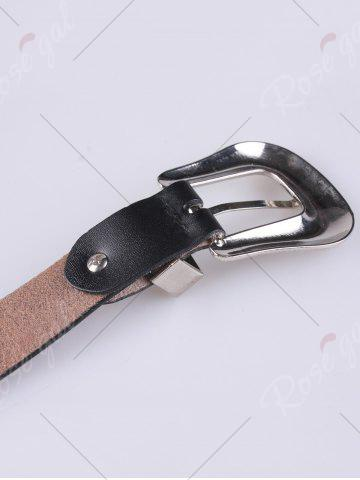 Trendy Metal Engraved Pin Buckle Rivet Waist Belt - BLACK  Mobile