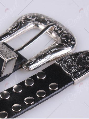 New Metal Engraved Pin Buckle Rivet Waist Belt - BLACK  Mobile