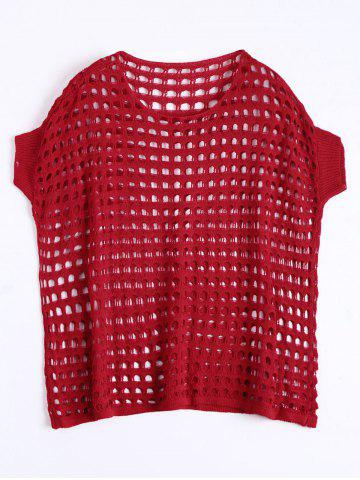See Through Crochet Knit Plus Size Top - Bright Red - Xl